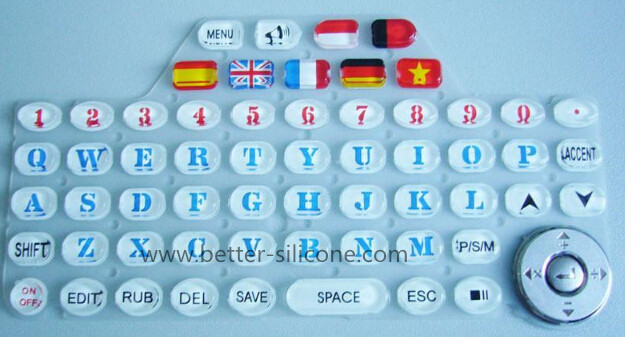 Elastomeric Silicone Rubber Epoxy Coated Keypad